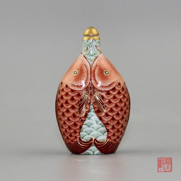 年年有鱼陶瓷鼻烟壶