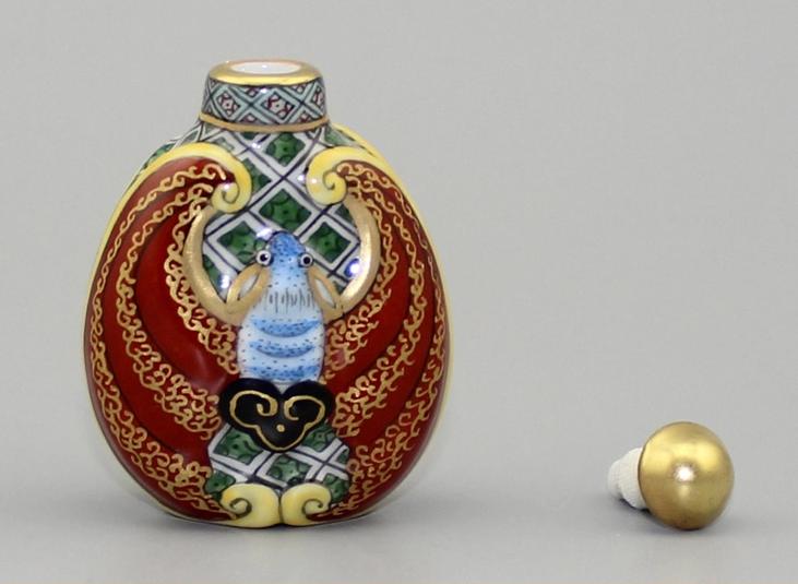 双福临门陶瓷鼻烟壶