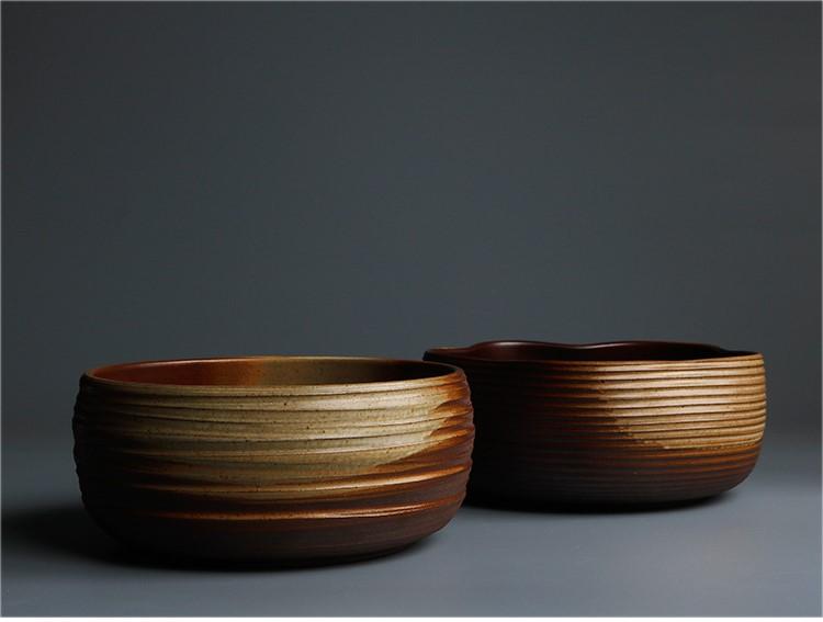 两款手工粗陶茶洗大号陶瓷水盂