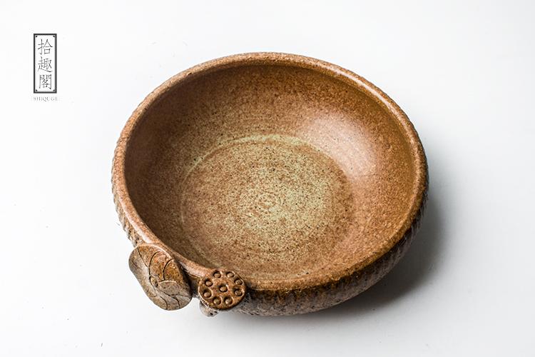 复古莲花手工粗陶茶洗水盂