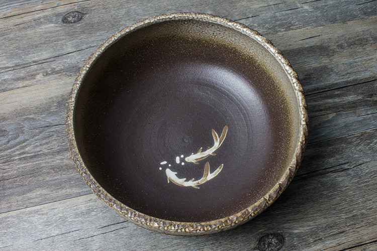 六款复古手工双鱼图案粗陶茶洗水盂