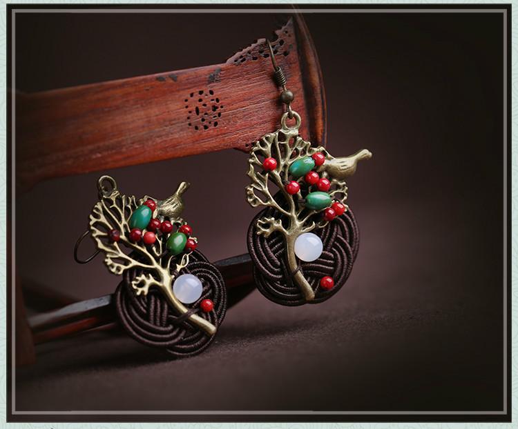 森系古典耳坠耳环,古典风夸张吊坠耳环