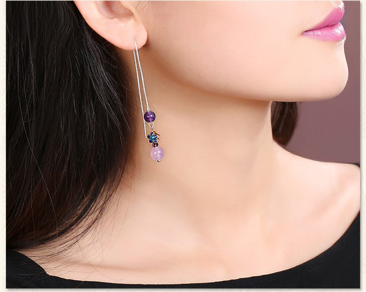 紫色小巧时尚耳饰,古典银线长款耳环