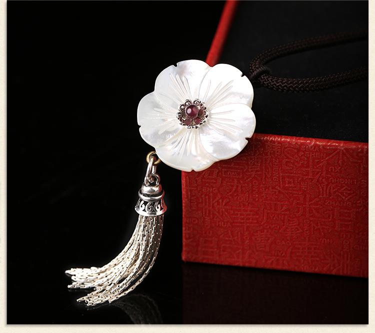 贝壳花复古锁骨链,银流苏花朵项链首饰