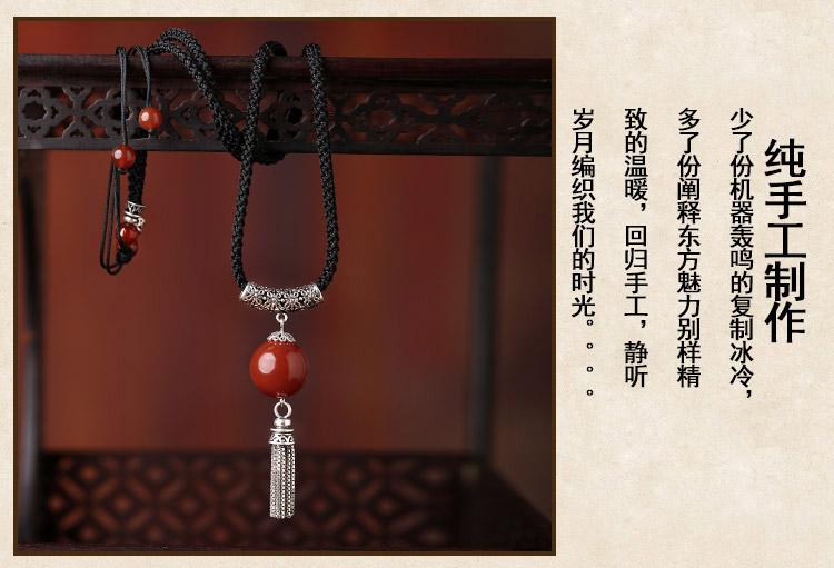 简约时尚古典风链子,玛瑙银流苏项链首饰