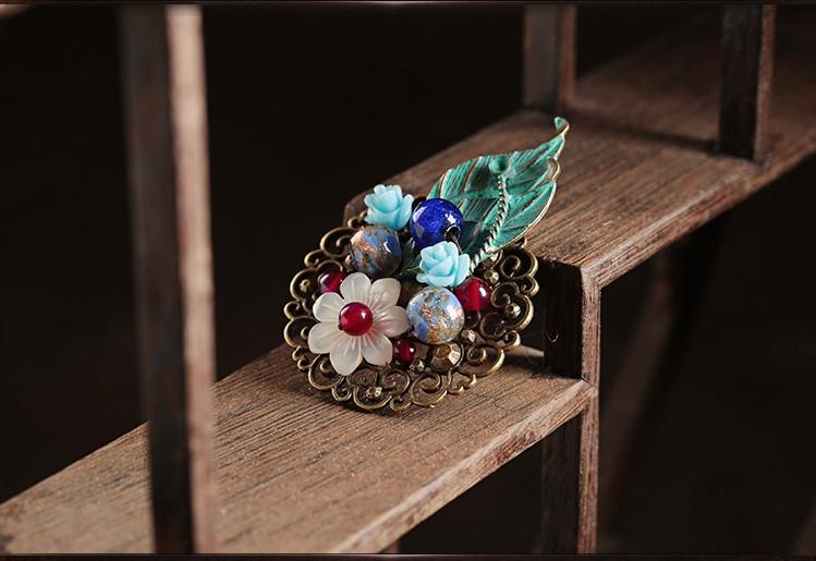 满涧幽花胸针,树叶贝壳胸花饰品