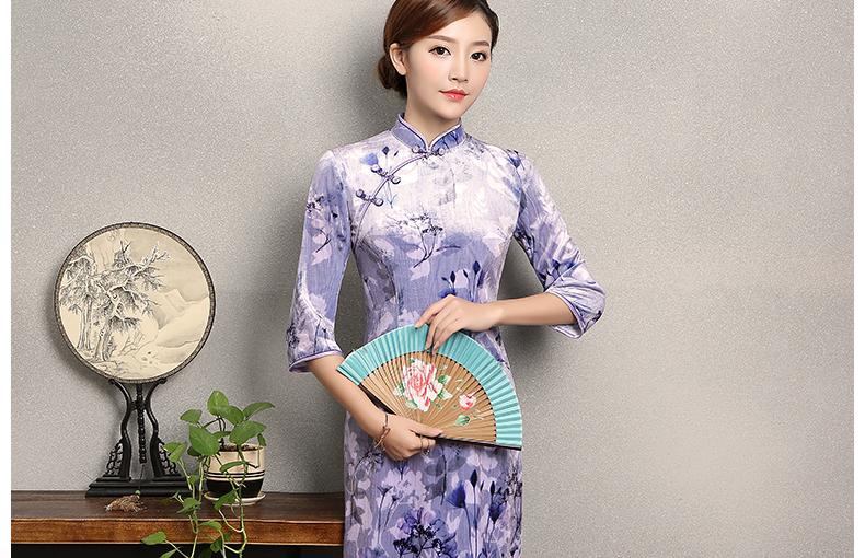 淡紫色印花旗袍,高贵典雅旗袍裙