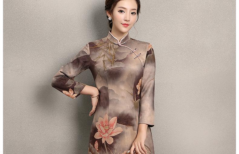粉荷印花旗袍,古典风复古旗袍裙