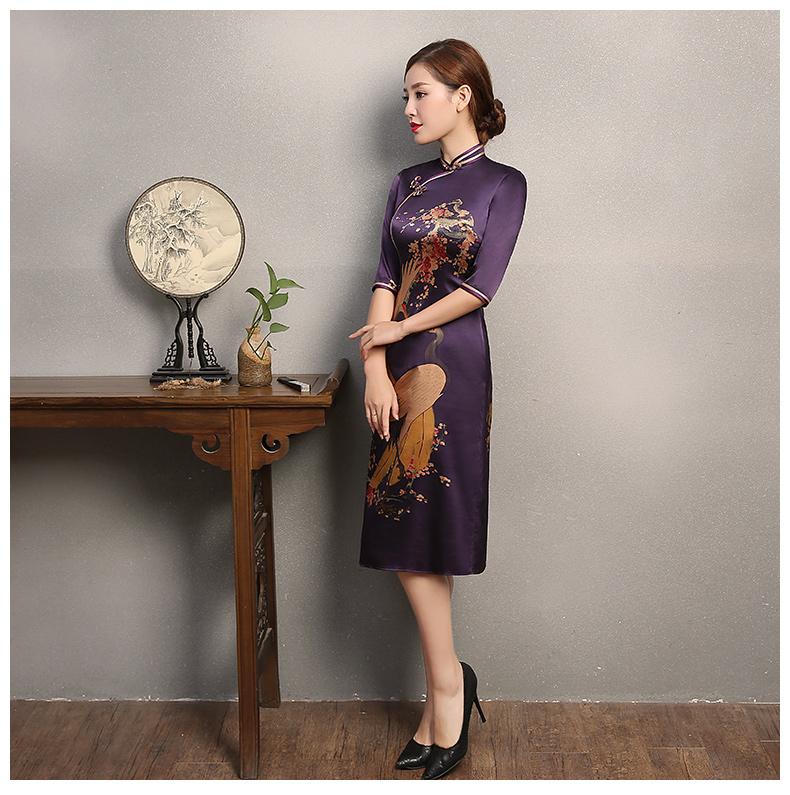 鹤舞紫色旗袍,古典风复古旗袍裙