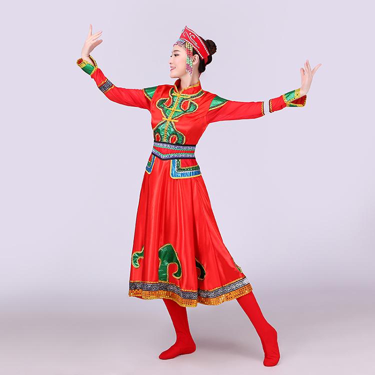 红色大裙摆蒙古族服饰,少数民族服装