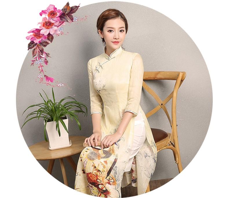 淡黄色灵凤旗袍,奥黛改良旗袍裙