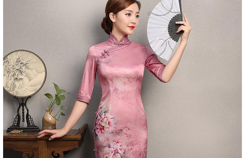 粉色墨画旗袍,中袖真丝旗袍裙