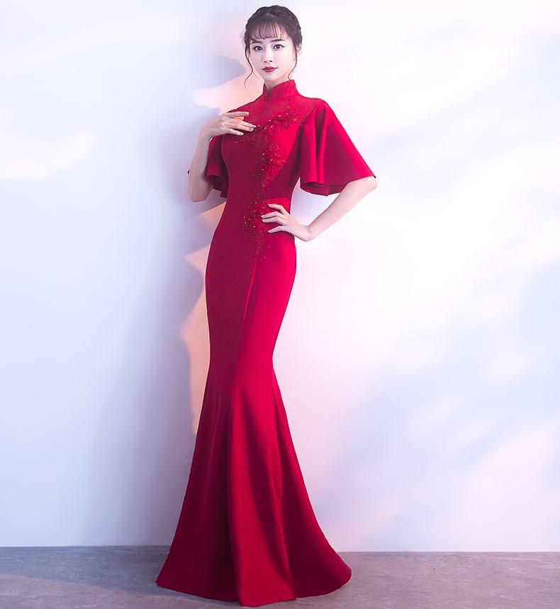 时尚喇叭袖口中式礼服,立体花朵鱼尾晚礼服