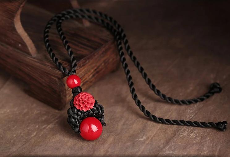 简约红吊坠锁骨链古典古典风项链
