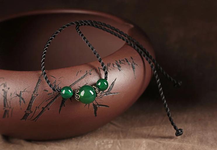 简约玛瑙吊坠锁骨链古典复古项链