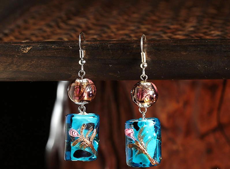 琉璃民族风耳饰复古风宝蓝色时尚耳环
