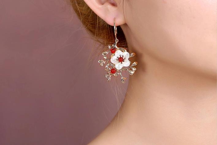 古典风复古气质花朵耳坠耳环饰品