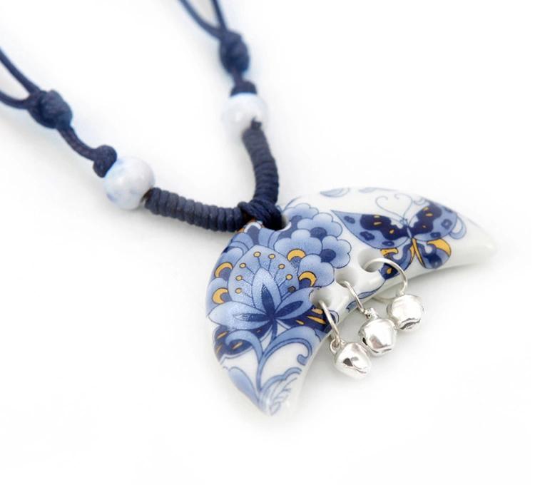 蝶迷古风古典陶瓷铃铛项链