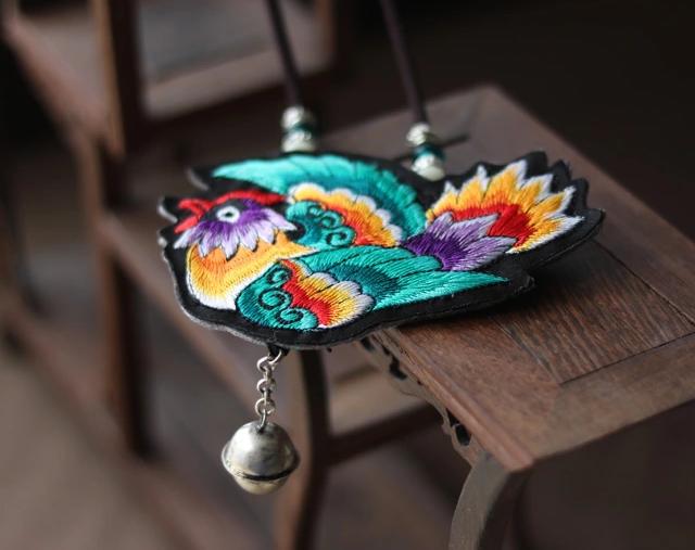民族风刺绣灵雀长款挂件挂饰配饰项链