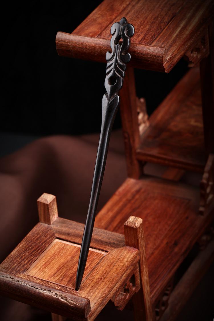 手工复古典古典风黑檀木发簪木质簪子